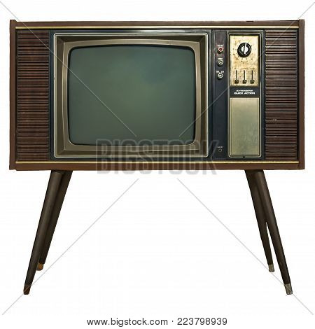 Vintage TV : old retro TV set in wooden cabinet on isolated white background with clipping path.
