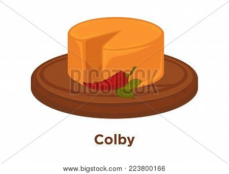 Spicy head of colby cheese with hot chilli pepper on round wooden tray. Semi-hard cheese of American origin, which made of cow milk isolated cartoon flat vector illustration on white background.