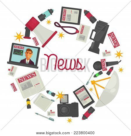 News promo posters with reportage creation equipment in circle. Big loudspeaker, open laptop, modern tablet, photo and video cameras, newspaper sheets and standard microphone vector illustrations.