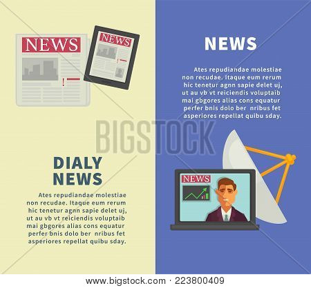 Daily news with modern technologies promotional vertical posters. Fresh newspaper, modern tablet, open laptop with video and satellite dish cartoon flat vector illustrations on advertisement banners.