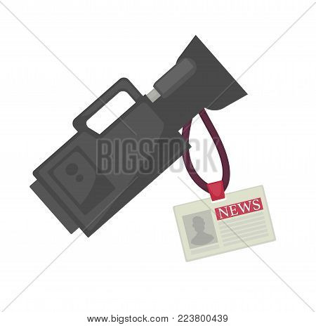 Professional video camera in black corpus and small plastic badge on rope for news worker. TV operator basic expensive equipment isolated cartoon flat vector illustration on white background.