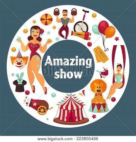 Amazing show at famous great circus promo poster. Traditional big striped tent, equipment for complicated tricks, male and female performers in scenic costumes vector illustrations in heart shape.
