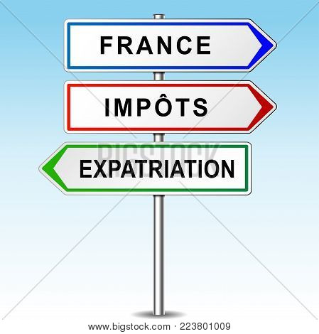Illustration of arrows for france, tax and expat