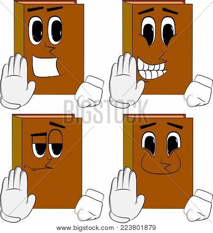 Books showing deny or refuse hand gesture. Cartoon book collection with happy faces. Expressions vector set.