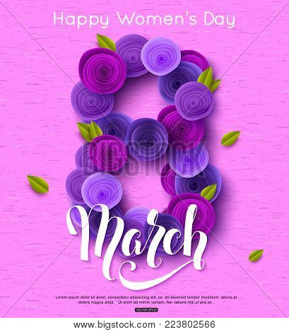 8 March greeting card ultra violet paper rose flowers decoration. International Women's Day background with handwritten lettering inscription. Vector illustration