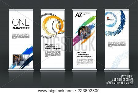 Business Vector Set Vector Photo Free Trial Bigstock Beauteous Artistic Displays Banner Stands