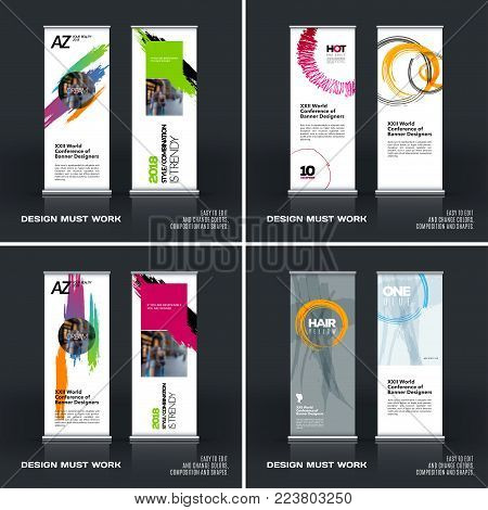 Business Vector Set Vector Photo Free Trial Bigstock Adorable Artistic Displays Banner Stands