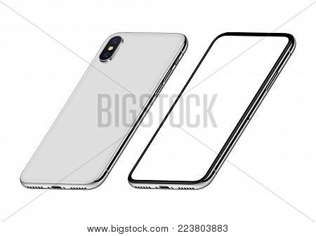 Perspective isometric smartphones like iPhone X mockup front and back side. New modern white frameless smartphones with blank white screen and back side. Isolated on white background. 3D illustration.