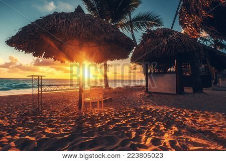 Caribbean vacation, beautiful sunrise over tropical beach in Punta Cana