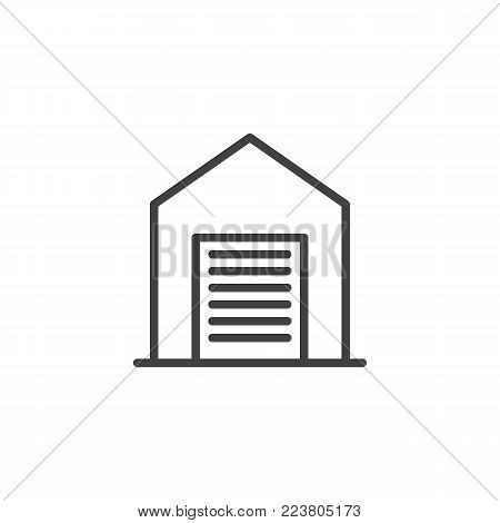 Garage line icon, outline vector sign, linear style pictogram isolated on white. Shed symbol, logo illustration. Editable stroke