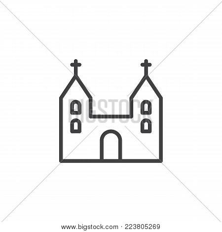Cathedral church building line icon, outline vector sign, linear style pictogram isolated on white. Symbol, logo illustration. Editable stroke