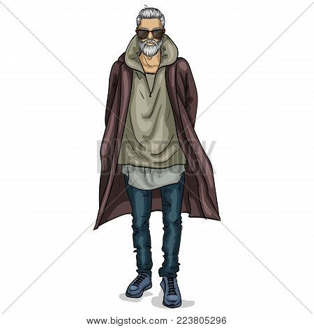Vector man model dressed in jeans, hoody, shirt, and long coat