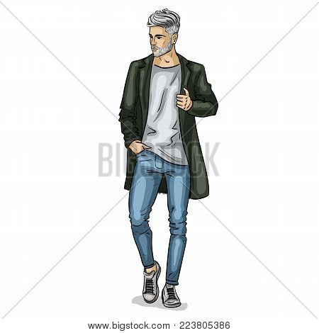 Vector man model dressed in jeans, t-shirt, sneakers and jacket
