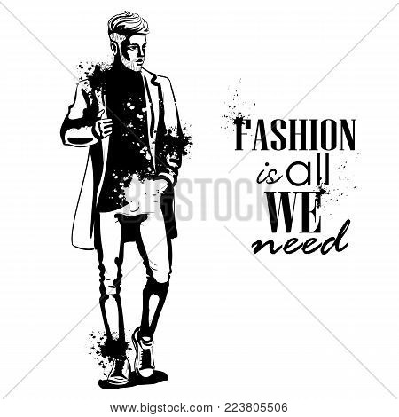 Vector man model dressed in jeans, t-shirt, sneakers and jacket, splash stile. Fashion is all we need