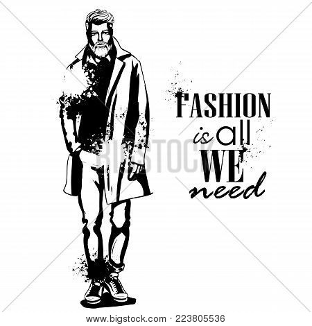 Vector man model dressed in pants, shirt, jeanse jacket, sneakers, and long coat, splash stile. Fashion is all we need