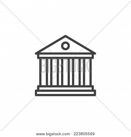 Bank building line icon, outline vector sign, linear style pictogram isolated on white. Universal building with columns symbol, logo illustration. Editable stroke