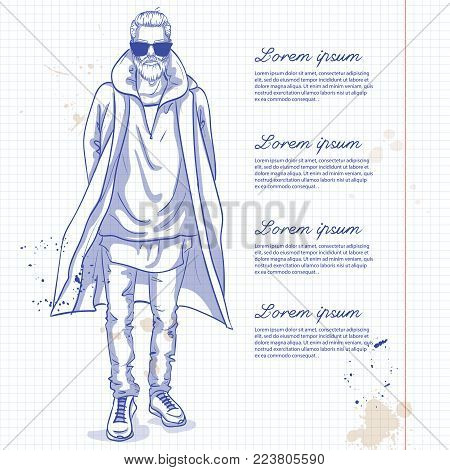 Vector man model dressed in jeans, hoody, shirt, and long coat on a notebook page