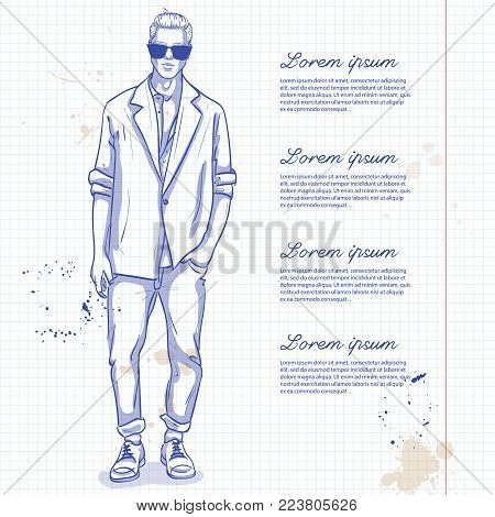 Vector man model dressed in jeans, shirt, linen jacket and sneakers on a notebook page