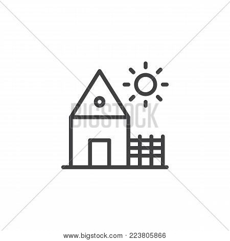 Village house line icon, outline vector sign, linear style pictogram isolated on white. Countryside home, rancho symbol, logo illustration. Editable stroke