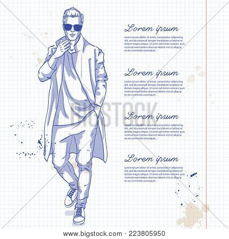 Vector man model dressed in pants, t-shirt and long coat on a notebook page