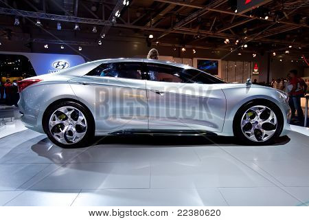 Grey Blue Sport Car Hyundai  I-flow At Moscow International Exhibition