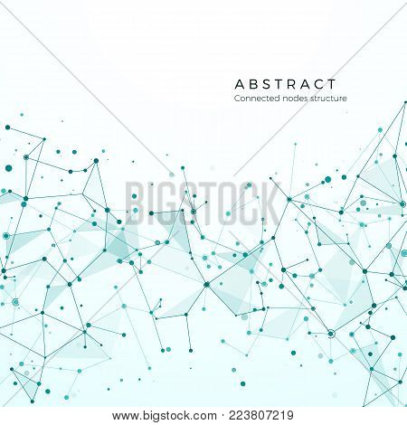 Data visualization concept. Graphic Node pattern. Complex intricacy network structure. Abstract futuristic plexus. Compound particles, molecular mesh. Vector illustration