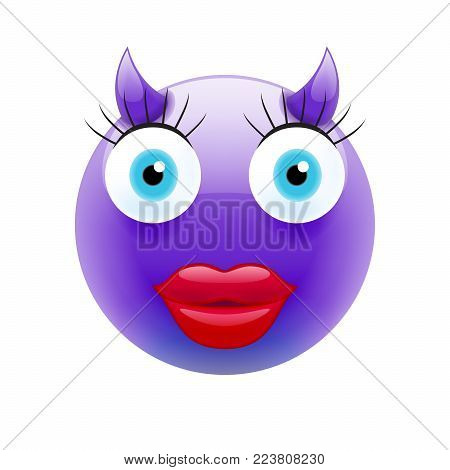 Happy Female Devil Emoticon with Blue Eyes. Happy Female Devil Emojis. Smile Icon. Isolated vector illustration on white background