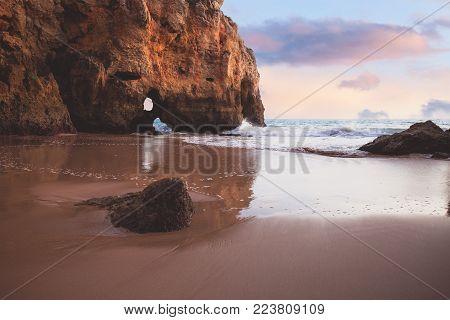 Beautiful rocky Atlantic ocean coastline panorama, Portugal