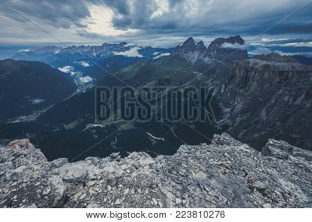 High Alpine mountain dramatic landscape, Dolomites Alps, Italy