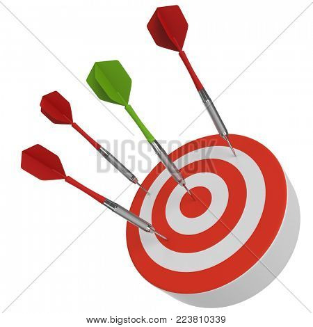Green dart hitting the bulls eye and red darts missing. Business concept. Goal achievement metaphor. 3D rendering.