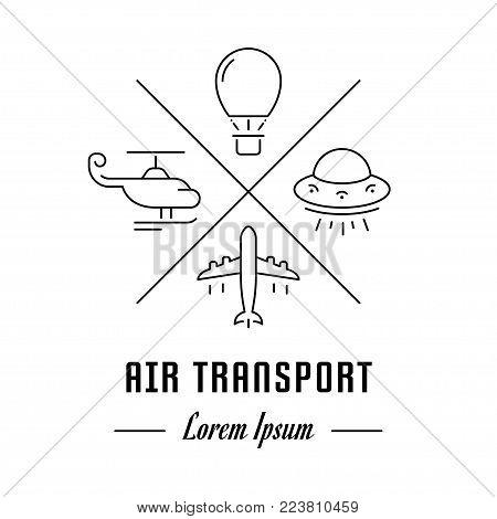 Vector logo air transport. Hipster emblem, label or banner for air transport. Line sign with elements. Concept brand.