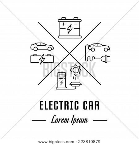 Vector logo electric car. Hipster emblem, label or banner for electric car. Line sign with elements. Concept brand.