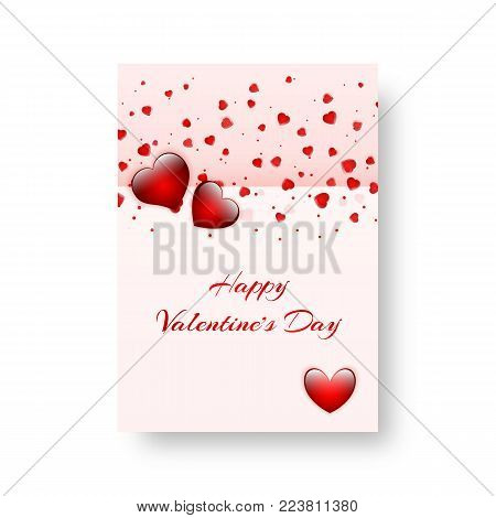 Design of a greeting card for St. Valentine's Day, mother's day or birthday with bright confetti in the shape of a heart. Vector illustration