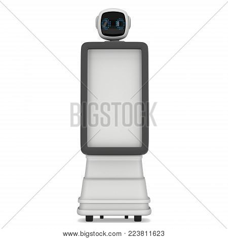 Robot Promoter Trade show booth with Blank LCD Screen. 3d render isolated on white background. Ad template promo bot for your expo design.