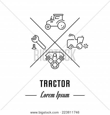 Vector logo tractor. Hipster emblem, label or banner for tractor. Line sign with elements. Concept brand.