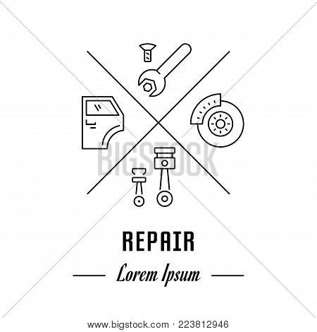 Vector logo repair. Hipster emblem, label or banner for repair. Line sign with elements. Concept brand.