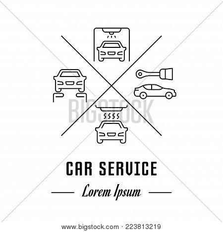 Vector logo car service. Hipster emblem, label or banner for car service. Line sign with elements. Concept brand.