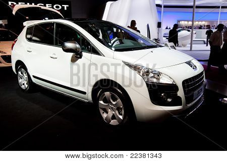Moscow, Russia - August 25:  White Car Peugeot 3008 At Moscow International Exhibition Interauto On