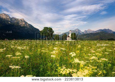 Panoramic view of St. Coloman church, Schwangau, Bavaria, Germany