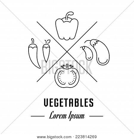 Vector logo vegetables. Hipster emblem, label or banner for vegetables. Line sign with elements. Concept brand.