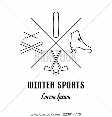 Vector logo winter sports. Hipster emblem, label or banner for winter sports. Line sign with elements. Concept brand.