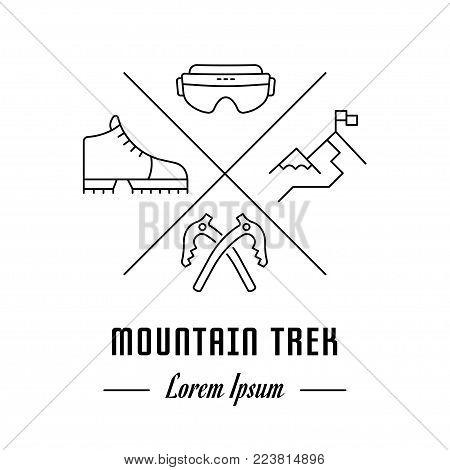 Vector logo mountain trek. Hipster emblem, label or banner for mountain trek. Line sign with elements. Concept brand.