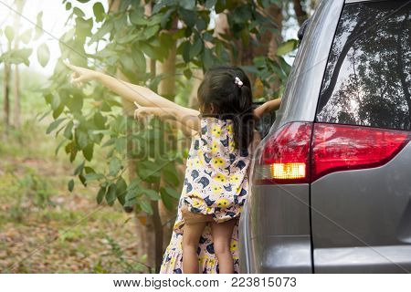 Mother guiding her daughter about the environment beside the car.