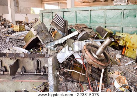 Photo Picture Heap of Scrap Metal Ready for Recycling