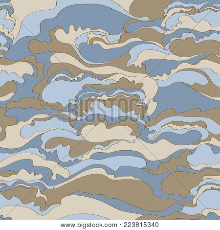 Pattern with the image of the cream texture of blue, gray and beige shades. Abstract background