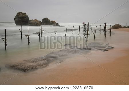 The stilt fishermen at Koggala in Sri Lanka