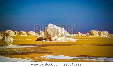 Abstract nature sculptures in White desert at Sahara, Egypt