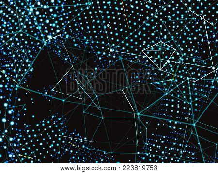 A world map consisting of dots and lines. A global network connecting world's points. Technological template for background of your design. Abstract representation of digital world. 3d illustration