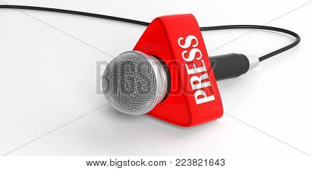 Press Concept. Microphone With Press Box Isolated On White Background. 3D Illustration