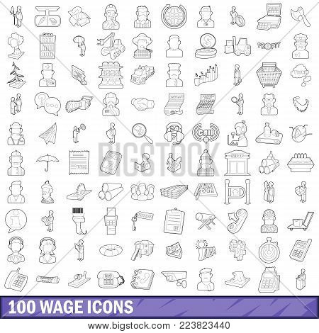100 wage icons set in outline style for any design vector illustration